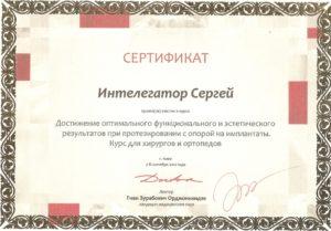 Интелегатор Сергей Витальевич сертификат 9
